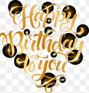 Vector Golden Font Birthday Celebration PNG
