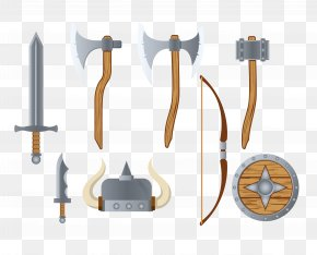 Vector Ancient Battlefield Cold Weapon Flat Design - Cold Weapon Flat Design Arma Bianca PNG
