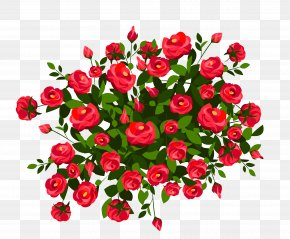 Red Rose Bush Clipart Image - Rose Shrub Pink Clip Art PNG