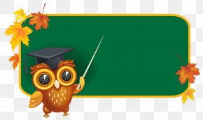 Owl With School Board Clipart Image - Board Of Education Blackboard School Clip Art PNG