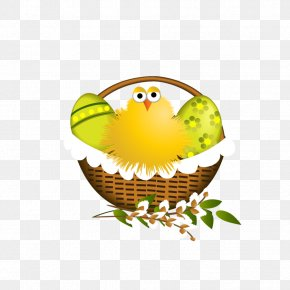 Easter Basket With Chicken - Easter Clip Art PNG
