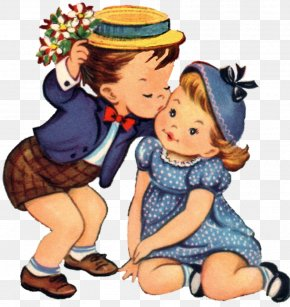 Children Playing - Valentine's Day Heart Greeting & Note Cards Clip Art PNG