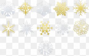 Gold Snowflake Style Collection - Yellow Petal Pattern PNG