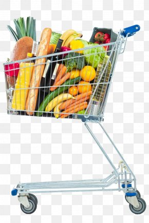 Shopping Cart Full Of Stuff - Shopping Cart Supermarket Grocery Store PNG