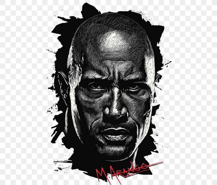 Drawing Dwayne Johnson, PNG, 513x700px, Drawing, Aggression, Art, Black And White, Canvas Download Free