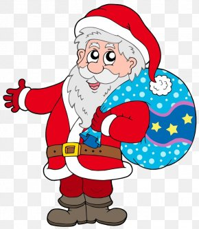 Santa Claus With Bags On His Back - Santa Claus Gift Christmas Illustration PNG