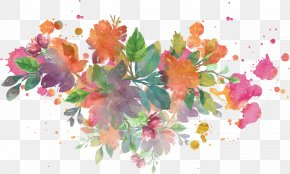 Vector Splash Watercolor Flowers - Jindo County Floral Design Watercolor Painting PNG