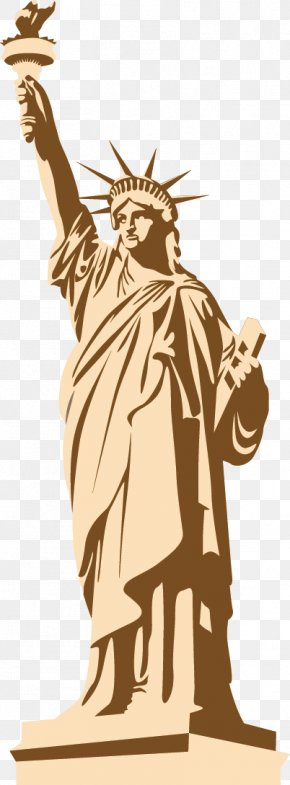 Vector Hand-painted Statue Of Liberty - Statue Of Liberty Landmark PNG
