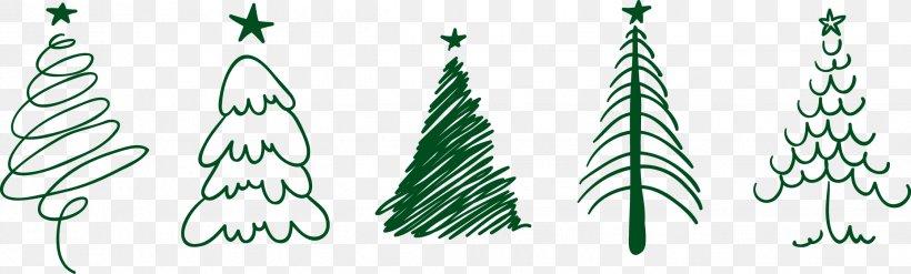 Christmas Tree Drawing Santa Claus, PNG, 2244x677px, Christmas, Branch, Christmas Card, Christmas Decoration, Christmas Lights Download Free