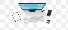 Hand-painted Top View Computer Workstations - Web Development Software Development Mobile App Development Application Software Desktop Computer PNG