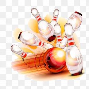 Red Bowling And Bowling Pins - Bowling Pin Bowling Ball Illustration PNG