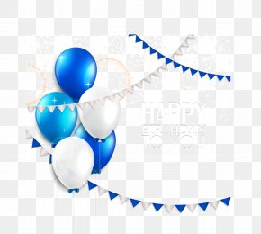Beautiful Blue And White Balloons Birthday Cards Vector Material - Wedding Invitation Balloon Birthday Greeting Card PNG