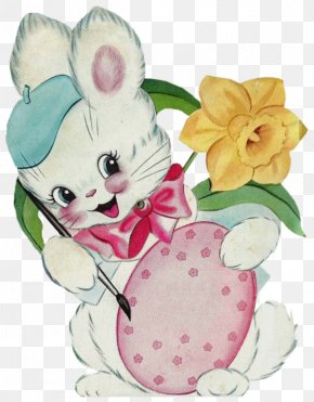 Bunny Rabbit - Easter Bunny Easter Egg Rabbit Flower PNG
