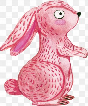 Pink Hand-painted Rabbit - Watercolor Painting Download Animal PNG