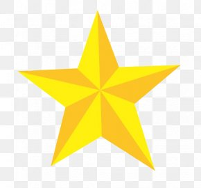 Golden Five-pointed Star - Five-pointed Star Euclidean Vector PNG