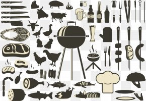 Encyclopedia Of Food BBQ Tools - Barbecue Grill Drawing Illustration PNG