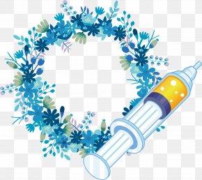 Beautiful Nurse Fancy Ring - Paper Napkin Wreath Flower Blue PNG