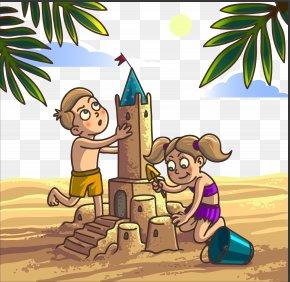 Children Playing Beach Vector Material - Sand Art And Play Cartoon Clip Art PNG