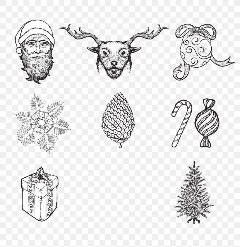 Santa Claus Christmas Tree Snowflake, PNG, 1000x1030px, Santa Claus, Art, Artwork, Black And White, Body Jewelry Download Free