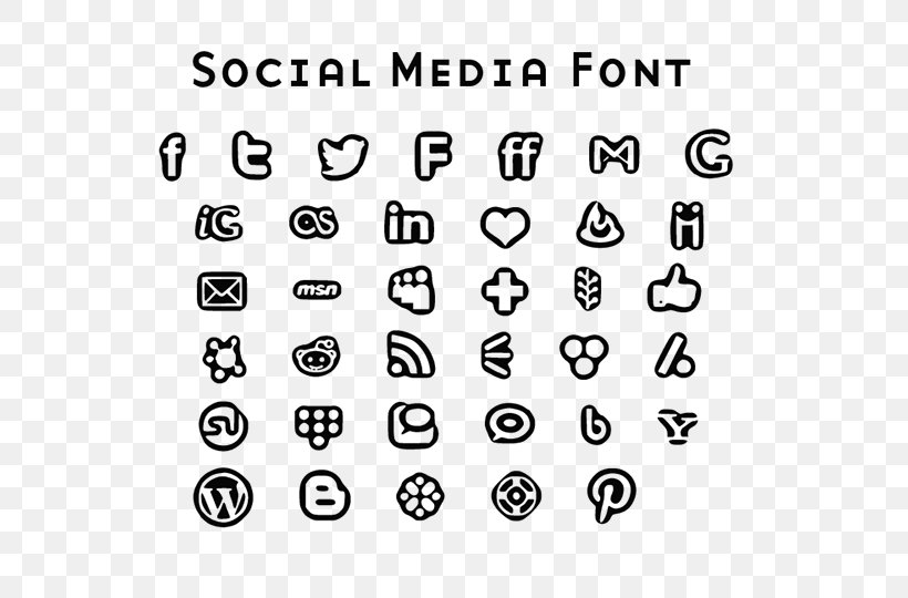 Social Media Font Awesome Font, PNG, 600x540px, Social Media, Area, Black And White, Dingbat, Font Awesome Download Free