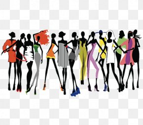 A Group Of Beautiful Women - Fashion Show Runway Clip Art PNG