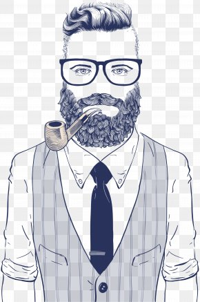 Vector Man Wearing Sunglasses - Hipster Drawing Retro Style Illustration PNG