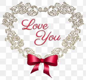 Heart With Red Bow Love You Clipart Picture - Love Clip Art PNG