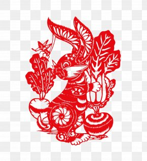 Paper-cut Rabbit - Papercutting Chinese Paper Cutting Chinese New Year Chinese Zodiac Rabbit PNG