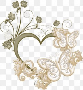 Love Butterfly Frame - Heart Picture Frame PNG