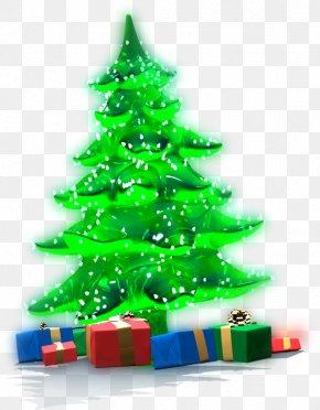 Green Christmas Tree - Christmas Tree Gift Clip Art PNG