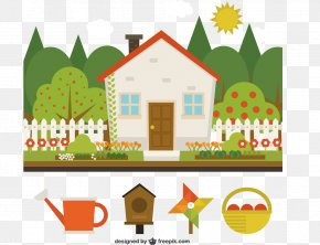 Cartoon House With A Garden Vector Material Downloaded, - House Buyer Home Real Estate Maid Service PNG