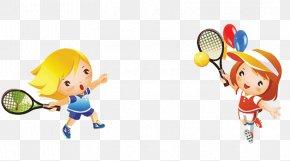 Cartoon Kids Playing - Child Badminton Tennis PNG