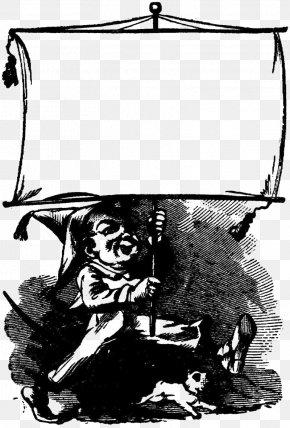 Cartoon Child Raise His Flag Illustration - Black And White Cartoon Illustration PNG