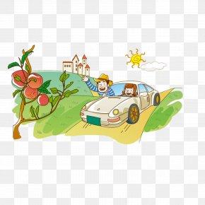 Summer Driving Cartoon Self - Illustration Cartoon Image Vector Graphics PNG