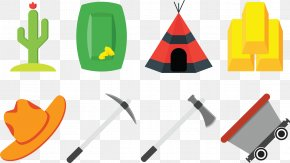Collection Of Farm Implements - Gold Icon PNG