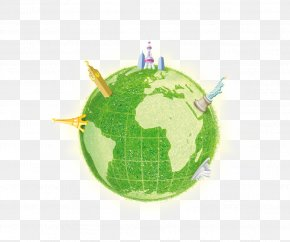 Green Earth - Earth Day Globe Illustration PNG