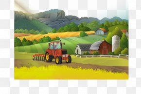 Beauty Field Work - Farm Landscape Rural Area Illustration PNG