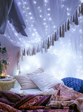 String Lights - Lighting Bedside Tables Bedroom Christmas Lights PNG