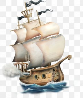 Hand-painted Cartoon Pirate Ship - Ship Watercraft PNG