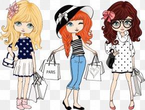 Fashion Design Vector Material Cartoon Women, - Fashion Cartoon Illustration PNG