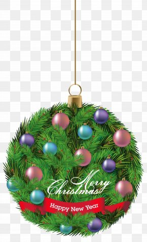Pine Hanging Christmas Ornament Clipart Image - Christmas Ornament Santa Claus Clip Art PNG