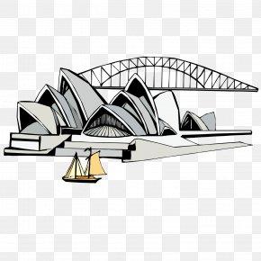European Bridge - Sydney Opera House Tourist Attraction Flat Design Illustration PNG