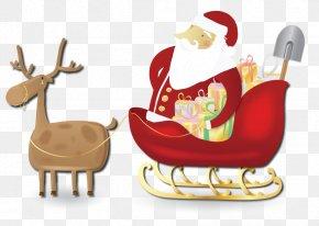 Santa Sleigh - Rudolph Santa Claus Reindeer Sled Clip Art PNG