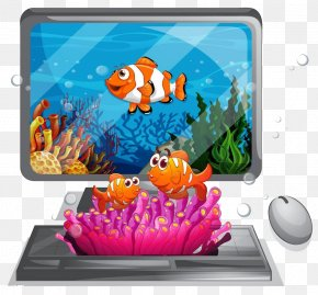On The Computer On The Sea High-definition Buckle Material - Computer Mouse Computer Keyboard Computer Monitor PNG