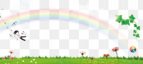 Rainbow Green Background Poster - Poster Fundal Cartoon PNG