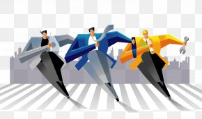 Fashion Color Abstract Vector Business Man Running - Public Relations PNG