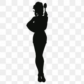 Silhouette Of A Woman Holding A Spoon Cartoon - Silhouette Woman Cartoon Spoon PNG