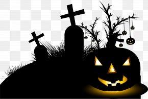 Black Hand-painted Halloween Poster Decor - Halloween Euclidean Vector PNG