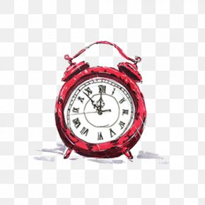 Hand-painted Red Alarm Clock - Alarm Clock Red Illustration PNG