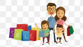 Hand-painted Decorative Pattern Family Shopping - Family Shopping Child PNG